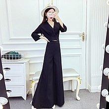 格格家 春季新款韓版V領短款修身長袖上衣+高腰休閑闊腿褲套裝女