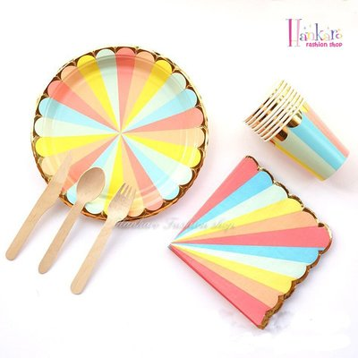 ☆[Hankaro]☆歐美創意派對布置道具彩色條紋圖案套裝免洗餐具組
