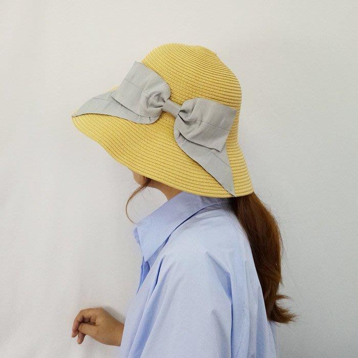 SEYES   自然風氣質森林系大蝴蝶結優雅可摺疊草編帽