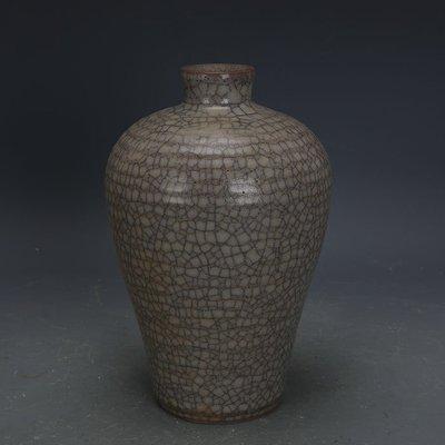 ㊣姥姥的寶藏㊣ 南宋官窯手工瓷豬毛孔冰裂釉梅瓶  出土古瓷器古玩古董收藏品