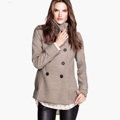 ☆°╮VS流行館╭°☆瑞典名牌H&M(購於香港保證全新正品)◎雙排扣短版毛領大衣外套(現貨在台)
