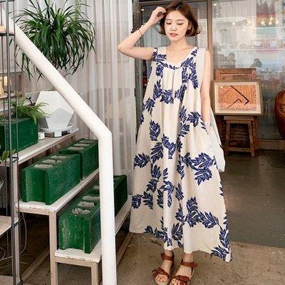 無袖洋裝 韓系 碎花舒適質感印花吊帶裙 艾爾莎 【TAK7746】