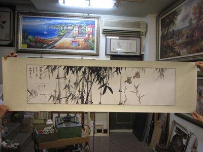 『府城畫廊-手繪國畫』竹子畫-節節高昇-竹報平安-43x158-(可加框)-歡迎查看關於我來聯繫-AG42