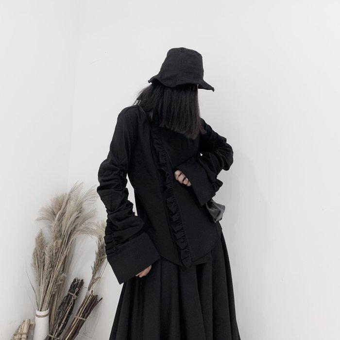 ||一品著衣|| 山本風暗黑系先鋒yojio襯衫日系不對稱門襟手作荷葉邊抽皺小眾設計潮流外套 YM