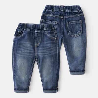 🚛NO.108童衣著【牛仔長褲】新款 男童90~150cm 新款 純棉 百搭款牛仔長褲 彈性鬆緊腰圍牛仔長褲