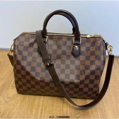 Louis Vuitton LV N41367 Speedy 30 棋盤格紋有背帶可調整二手
