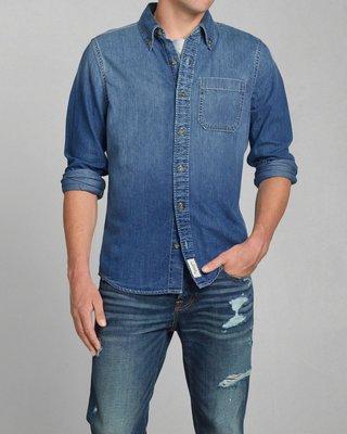 美國AMPM【現貨S148】AF  A&F  WASHED DENIM SHIRT  男版 牛仔襯衫 M號
