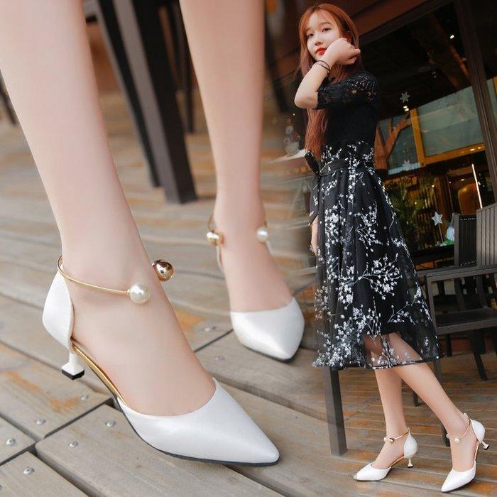 日系 氣質 韓國韓版 跟鞋 涼鞋 女鞋 春夏季中空單鞋尖頭中跟高跟鞋女珍珠細跟貓跟鞋女鞋子