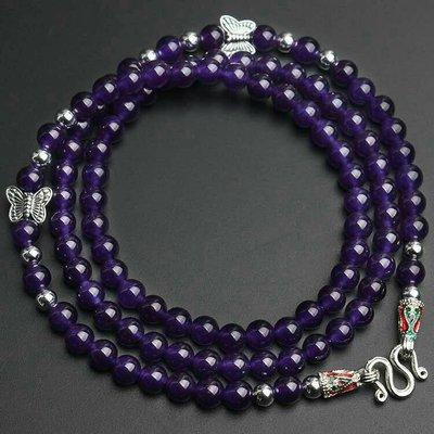 「還願佛牌」泰國 佛牌鏈 串珠款 項鍊 單掛 經典 佛牌鏈子 紫水晶