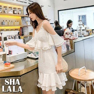 SHA LA LA 莎菈菈 韓版性感V領吊帶露肩荷葉邊收腰魚尾連衣裙洋裝(S~XL)2019050520預購款