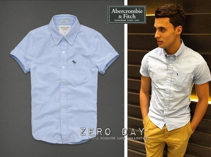A&F Abercrombie&Fitch Schroon River Oxford Shirt麋鹿素面牛津短袖襯衫-藍