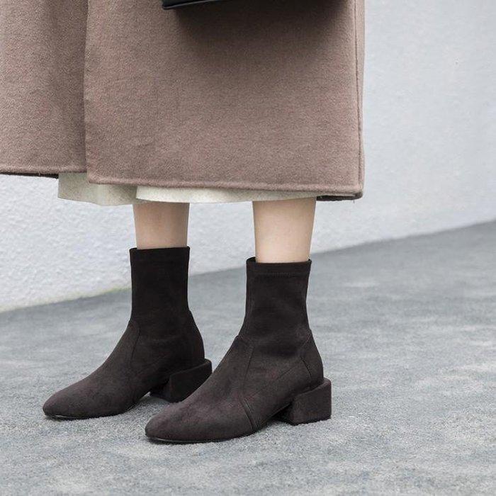 Hot shop 韓版彈力真皮絨圓頭小短靴 粗跟女靴 單靴 馬丁靴 瘦腿靴