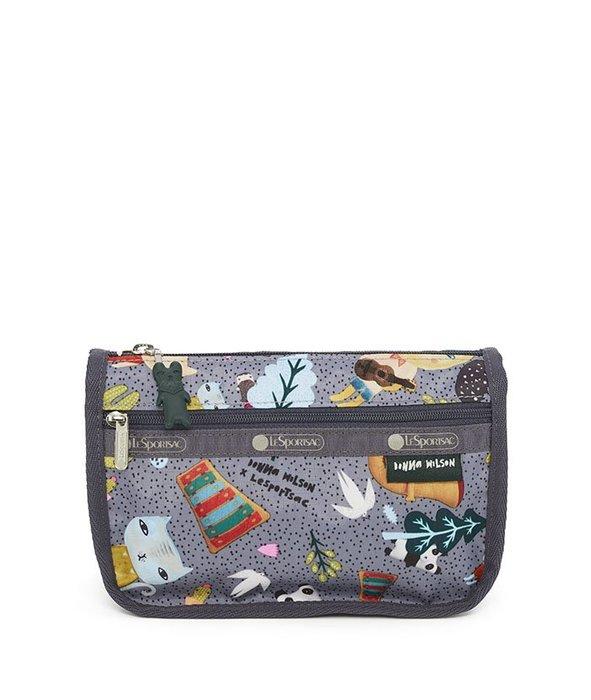 ♥ 小花日韓雜貨 ♥ --LeSportsac 7315 旅行防水包化妝包筆袋灰色貓咪款