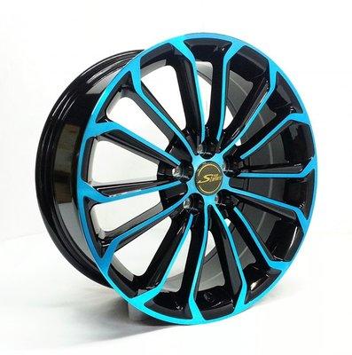 全新鋁圈 wheel EP11493 17吋鋁圈 5/100 亮黑底面車藍色
