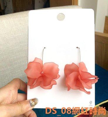 DS_08網紅時尚PDO 桃紅色夸張花朵度假派對波西米亞仙女流蘇長款耳墜耳環耳飾