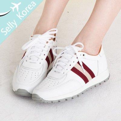 小白鞋 正韓 牛津 側配色織帶 綁帶 休閒鞋-Selly-沙粒(KR235)2色