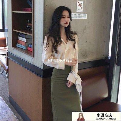 女神范套裝女春新款御姐氣質Chic百搭修身上衣裙子兩件-LE小琳商店