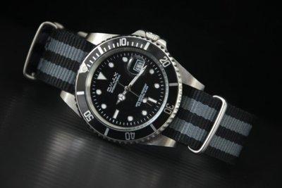 OMAX   歐馬仕尚勞利仕名款黑水鬼submarine造型不鏽鋼製石英錶james bond nato錶帶