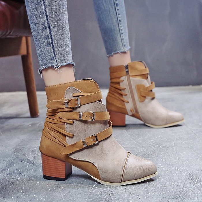 【最佳禮物】馬丁靴跨境專供短靴女中跟尖頭側拉鏈女鞋冬季新款大碼馬丁靴歐美綁帶鞋歐美