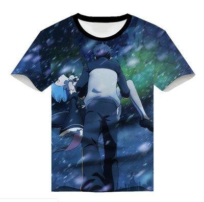 從零開始的異世界生活短袖蕾姆拉姆二次元衣服動漫全彩T恤PU71