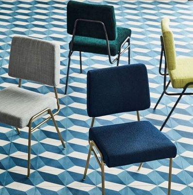 『格倫雅』鐵藝金色創意餐椅北歐簡約休閑椅現代設計師椅子洽談椅絨布椅^9724