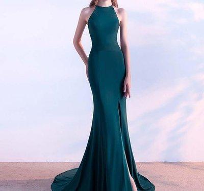 哆啦本鋪  夏時尚修身魚尾宴會主持人顯瘦長款禮服女優雅掛脖D655