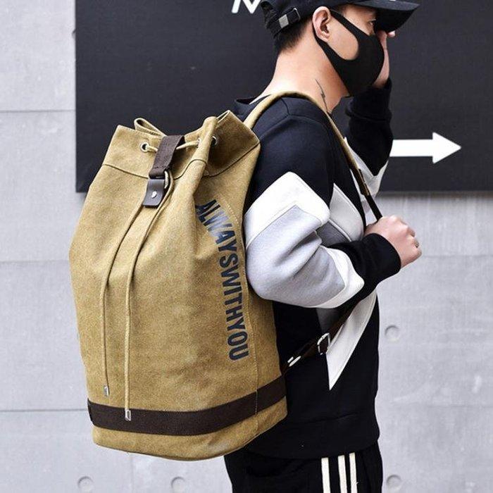 籃球包後背水桶圓桶背包帆布男大容量行李戶外旅行登山運動籃球學生書包