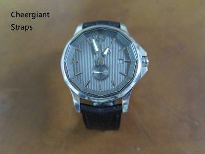 崑崙錶圓弧形鱷魚紋牛皮錶帶巧將手工錶帶 Corum Admiral Cup crococalf strap MIT