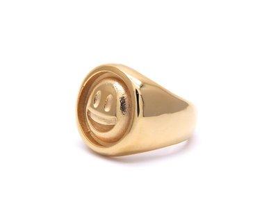 三本家~18K gold plated smile ring 鍍金笑臉戒指男女情侶
