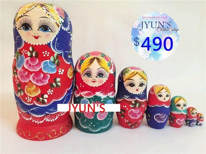 套件 俄羅斯七層套娃花紋彩繪木製手繪傳統工藝品居家設計擺件裝飾品進口正品7層生日禮情人節禮物1款JYUN'S預購