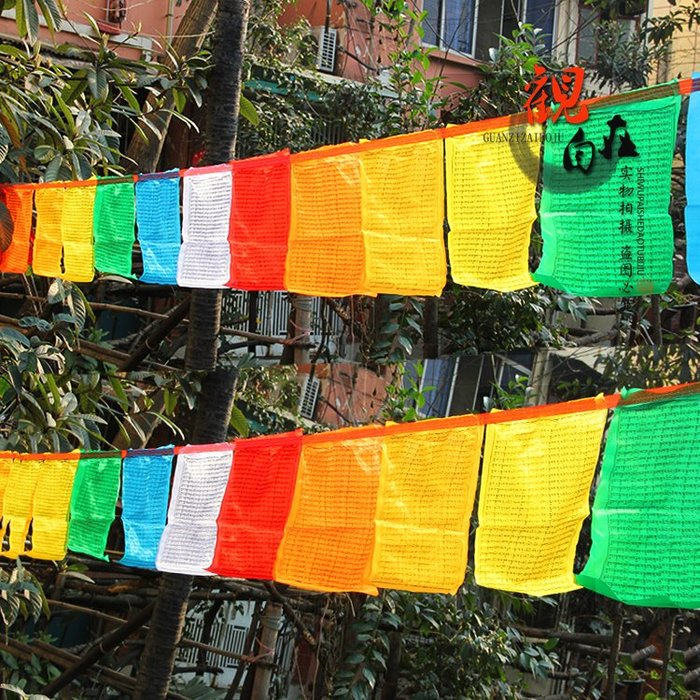 聚吉小屋 #千百智經幡 不動佛心咒佛教精品綢布經旗風馬旗天馬旗21面6.5米