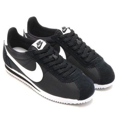 =CodE= NIKE CLASSIC CORTEZ NYLON 針織尼龍阿甘慢跑鞋(黑白) 807472-011 男女