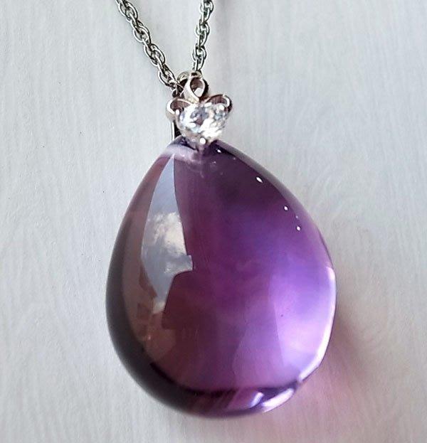 ☆采鑫天然寶石☆** 微醺醉紫** 頂級紫水晶墜~濃彩放光~極美珍藏水滴款