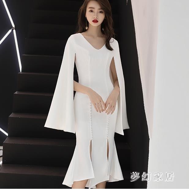 中大尺碼 魚尾禮服中長款顯瘦魚尾氣質名媛洋裝小禮服sd4343