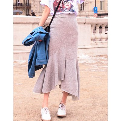 【Hao Da】全館399免運↘「M~XL。現貨」2色 甜美不規則 不修邊魚尾裙 (P1143)