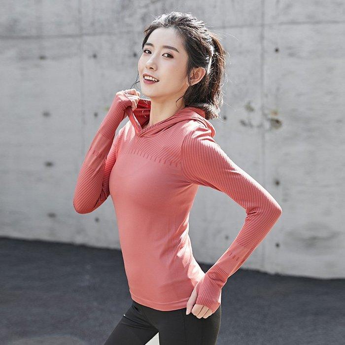 FuNFang_條紋修身運動休閒連帽長袖T恤*3色