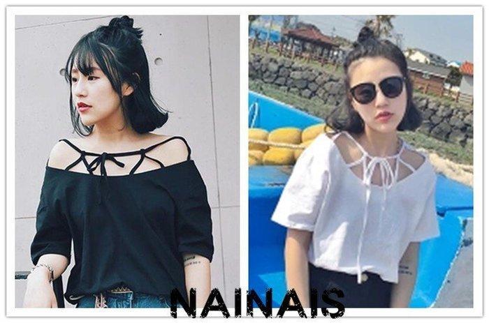 【NAINAIS】4160 韓版 性感露肩一字綁帶漏洞短袖t恤 2色 預