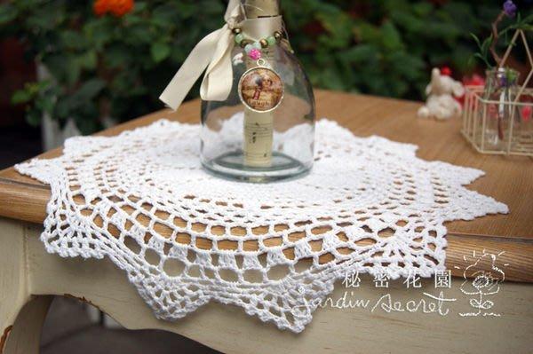 手勾餐墊--秘密花園--日本ZAKKA自然風格~白色手勾(圓款) 餐墊/蓋布-32cm