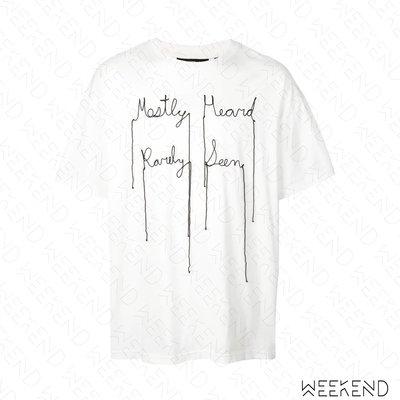 【WEEKEND】 MOSTLT HEARD RARELY SEEN MHRS 草寫文字 脫線效果 短袖 T恤 白色