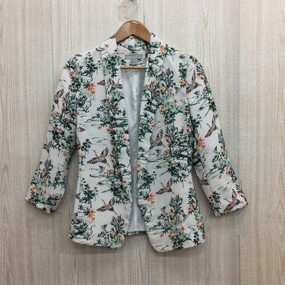 【愛莎&嵐】H&M 女 白色印花西裝外套 160/80A 1071009 (限Peggy下單)