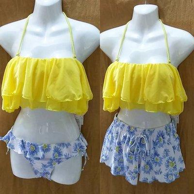 夏日太陽花荷葉比基尼短褲連身裙-AL7106-01