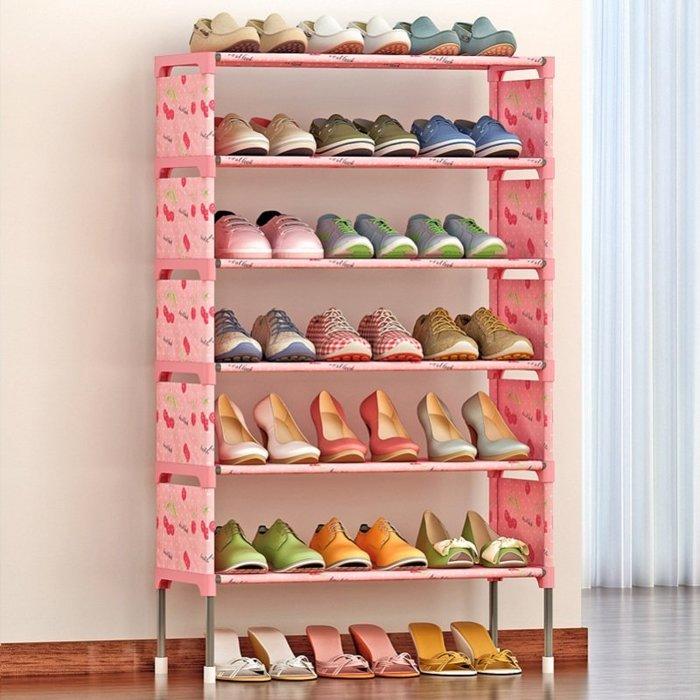 居家 置物架 鞋架 收納架 簡約 創意 簡易多層鞋架 組裝防塵鞋柜經濟型鐵藝收納架