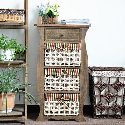 原木美式鄉村 4層櫃 4格抽屜櫃 編織收納籃木桌 邊桌 轉角桌 床邊桌 小木桌 四層木櫃 四格置物木架 木製整理格層櫃