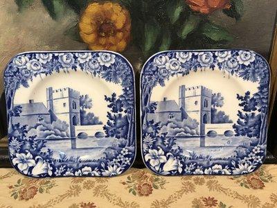 歐洲古物時尚雜貨 老英國 藍色系方形盤 風景盤  城堡 拱橋 瓷盤畫 小碟盤 擺飾品 古董收藏 一組2件