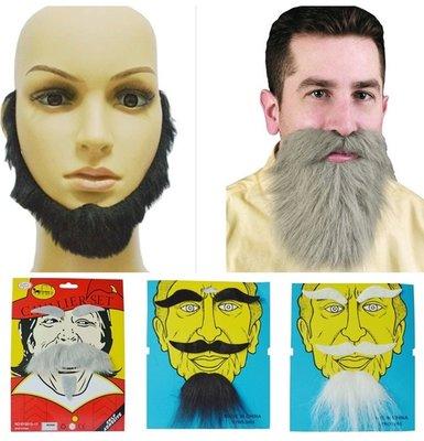 【銅板屋】*現貨*5款 絡腮鬍 銀灰色 黑色 大鬍子 表演 假道具 搞笑 聖誕老公公 仿真 假鬍子 山羊鬍 短鬍子