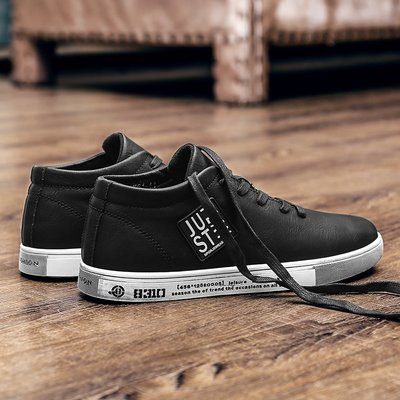 【小飛俠鞋盟】日系原宿歐美風復古手工擦色做舊板鞋潮流個性貼標小臟鞋黑色男鞋