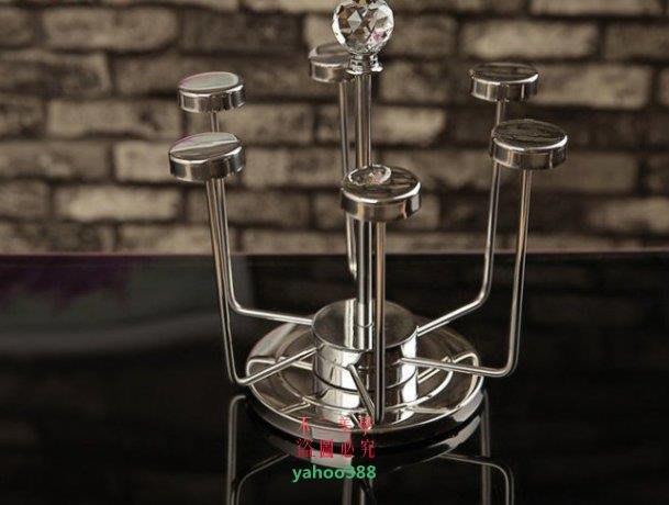 美學210高端不鏽鋼水杯架酒杯架茶杯架 6頭旋轉倒挂杯架 瀝水幹燥架372❖70145