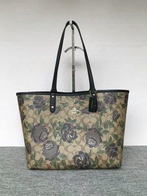 品牌折扣館 美國正品代購 COACH 25874 時尚玫瑰花卉PVC手提托特包 子母購物袋 兩面可用 女包 附購買證明
