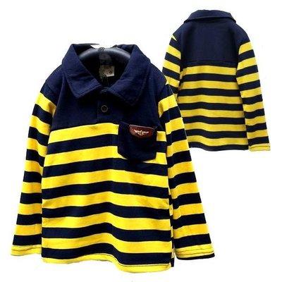 【班比納精品童裝】彈力紳士口袋徽章POLO衫條紋棉T-黃【BM150801007】