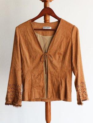 【多件優惠價】FROU FROU民族風麂皮感長袖罩衫外套(ANNA SUI-津森千里-古著-/古婆婆參考)